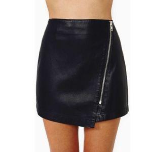 NWOT Nasty Gal black leather asymmetrical skirt